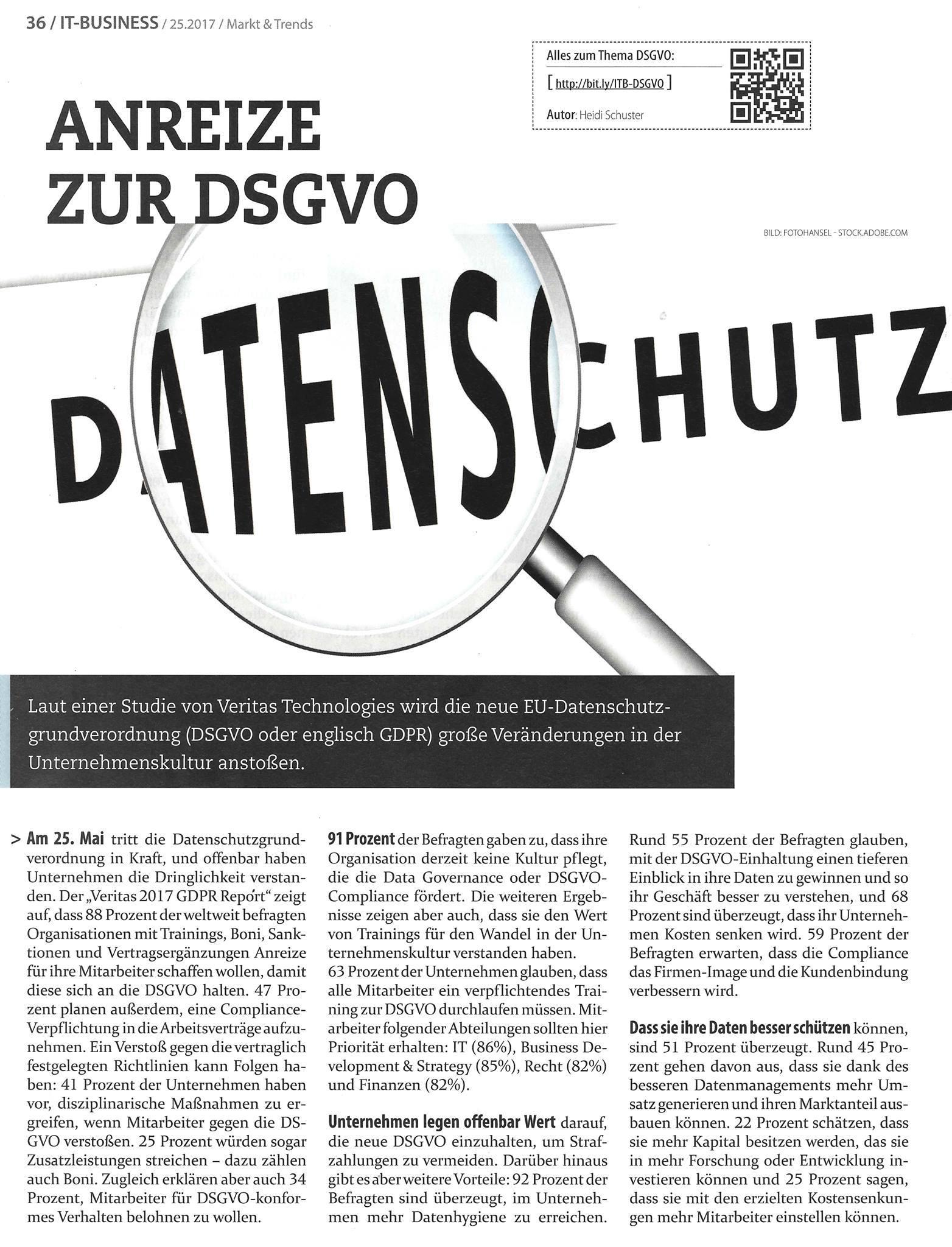 Anzeige zur DSGVO